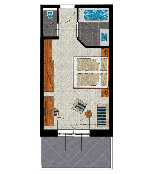 Grundriss Zimmer mit Terrasse
