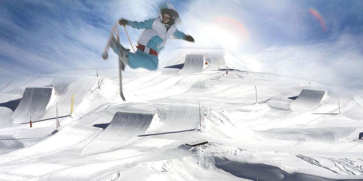 Snowpark mit Rampen
