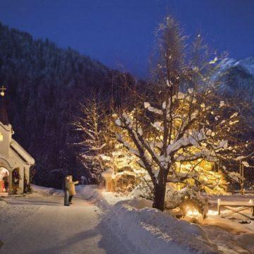 Beleuchteter Baum im Winter