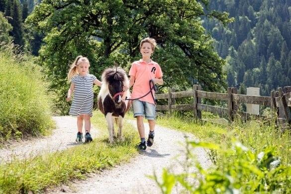 Kinder spazieren mit Pony